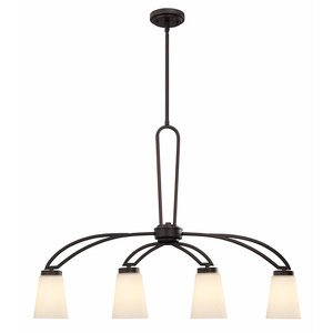"Canarm - Somerset - 35"" Chandelier in Oil Rubbed Bronze with White Flat Opal Glass"