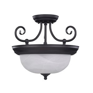"Canarm - Jullianna - 13 3/4"" Semi Flush Light in Oil Rubbed Bronze with White Alabaster Glass"