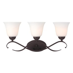 Canarm - Lily - Triple Bath Light in Oil Rubbed Bronze with White Flat Opal Glass