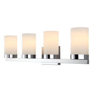 Canarm - Milo - Quadruple Bath Light in Chrome with White Flat Opal Glass