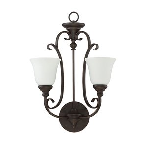 Craftmade - 2 Light Wall Sconce in Metropolitan Bronze with White Frosted Glass