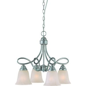 "Craftmade - Cordova - 21"" Chandelier in Satin Nickel with Faux Alabaster Glass"