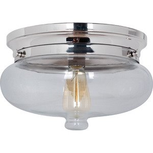 Craftmade - Yorktown - Flushmount Light in Polished Nickel and Antique Clear Glass