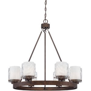 Craftmade - Kenswick - 6 Light Chandelier in Peruvian Bronze and Clear Hammer and Alabaster Glass