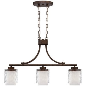Craftmade - Kenswick - 3 Light Island Pendant in Peruvian Bronze and Clear Hammer and Alabaster Glass