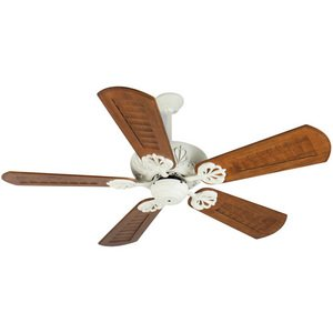 "Craftmade - 56"" Cordova Ceiling Fan in Antique White with Custom Carved Blades in Walnut"