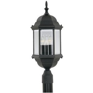 Designers Fountain Lighting - Devonshire - Exterior Post Lantern in Black with Clear