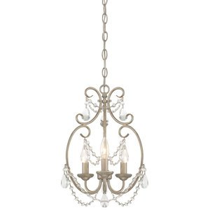 Designers Fountain Lighting - Dahlia - 3 Light Mini Chandelier in Aged Platinum with Clear Faceted Accents