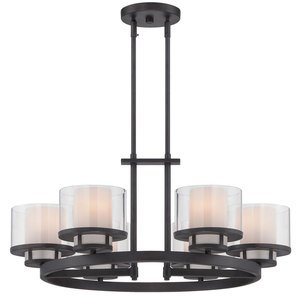 Designers Fountain Lighting - Fusion - 6 Light Chandelier in Biscayne Bronze with Clear and Frosted