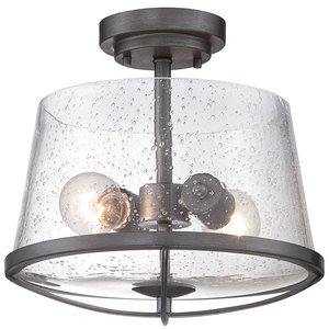 Designers Fountain Lighting - Darby - Semi-Flush in Weathered Iron with Clear Seedy