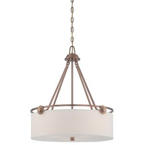 Designers Fountain Lighting - Gramercy Park - Pendant in Old Satin Brass with White Fabric