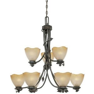 Designers Fountain Lighting - Timberline - Interior Chandelier in Old Bronze with Sculpted Ochere Luster