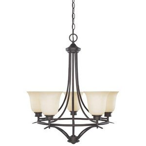 Designers Fountain Lighting - Montego - Interior Chandelier in Oil Rubbed Bronze with Satin Bisque