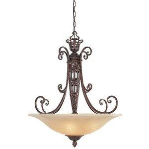 Designers Fountain Lighting Amherst Interior Pendant In Burnt Umber With Antique Harvest Beige