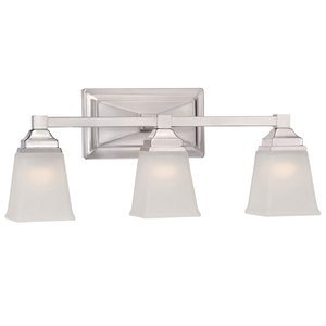 Designers Fountain Lighting - Trenton - 3 Light LED Bath Bar in Satin Platinum with Frosted