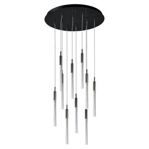ET2 Lighting - Scepter 10-Light Pendant in Black Chrome