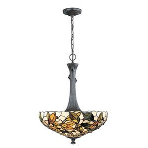 "Lite Source - Tiffany Lights - Esther 24"" Tall Pendant in Bronze Verde"