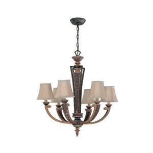 "Lite Source - Verbost 29"" Tall Chandelier in Aged Bronze"