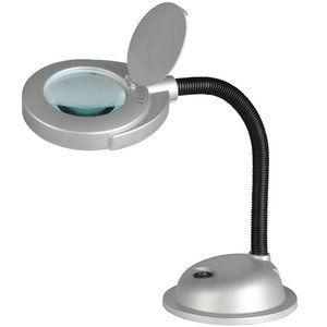 "Lite Source - Baby Magnify-Lite 14"" Tall 3-Diopter Magnifier Desk Lamp in Silver"
