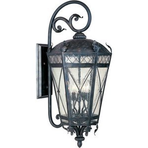 "Maxim Lighting -  12"" Canterbury 3-Light Outdoor Wall Lantern in Artesian Bronze with Seedy Glass"