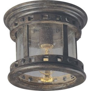 "Maxim Lighting -  9"" Santa Barbara VX 1-Light Outdoor Ceiling Mount in Sienna with Seedy Glass"