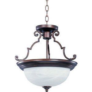 "Maxim Lighting -  17"" 2-Light Semi-Flush Mount in Oil Rubbed Bronze with Marble Glass"