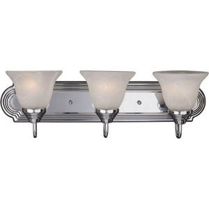 "Maxim Lighting -  24"" 3-Light Bath Vanity in Polished Chrome with Marble Glass"