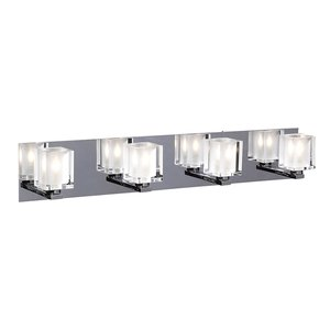 "PLC Contemporary Lighting - Wall - Glacier 35 1/2"" in Polished Chrome with Clear with Inside Frost Glass"