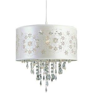 trans globe lighting satin flower wreaths crystal pendant with ivory in white - Trans Globe Lighting