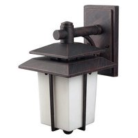 "Canarm - Outdoor - 7 1/4"" Exterior Wall Light in Antique Bronze with Flat White Opal Glass"