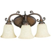 Craftmade - Jeremiah Aztec Lighting - Triple Bath Light in Peruvian with Tea Stained Glass