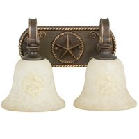 Craftmade - Jeremiah Chaparral Lighting - Double Bath Light in Antique Bronze with Antique Scavo Glass