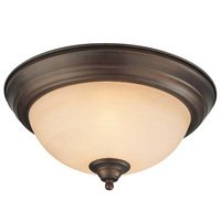 "Craftmade - Flush and Semi Flush Lights Lighting - 13"" Flush Mount Light in Old Bronze with Painted Glass"