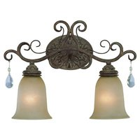 Craftmade - Jeremiah Englewood Lighting - Double Bath Light in French Roast with Painted Etched Glass