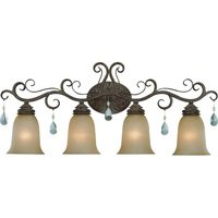 Craftmade - Jeremiah Englewood Lighting - Quadruple Bath Light in French Roast with Painted Etched Glass