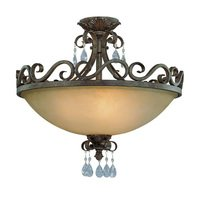 "Craftmade - Jeremiah Englewood Lighting - 24"" Convertible Flush / Semi Flush Light in French Roast with Painted Etched Glass"
