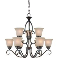 "Craftmade - Jeremiah Gatewick Lighting - 30"" Chandelier in Century Bronze with Painted Glass"