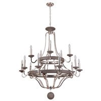 Craftmade - Jeremiah Ashwood Lighting Collection - 15 Light Two Tier Chandelier in Polished Nickel/Greywood