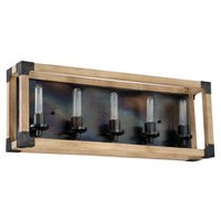 Craftmade - Cubic - 5 Light Vanity in Fired Steel with Natural Wood