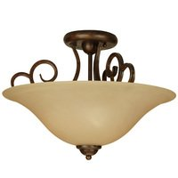 "Craftmade - Jeremiah Cecilia Lighting - 18"" Semi Flush Light in Peruvian with Amber Frost Glass"