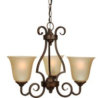 "Craftmade - Jeremiah Cecilia Lighting - 20"" Chandelier in Peruvian with Amber Frost Glass"