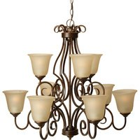"Craftmade - Jeremiah Cecilia Lighting - 32"" Chandelier in Peruvian with Amber Frost Glass"