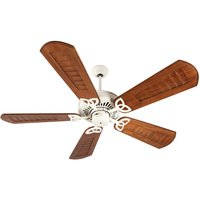 "Craftmade - American Tradition Ceiling Fan - 56"" Ceiling Fan in Antique White with Custom Carved Blades in Walnut"