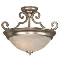 "Craftmade - Flush and Semi Flush Lights Lighting - 15"" Semi Flush Light in Brushed Nickel with Alabaster Swirl Glass"
