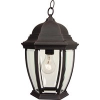 "Craftmade - Exterior Bent Glass Lighting - 9 1/2"" Hanging Exterior Light in Rust with Clear Beveled Glass"