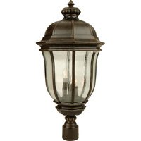 "Craftmade - Exterior Harper Lighting - 12"" Exterior Post Lantern in Peruvian Bronze with Clear Seeded Glass"