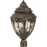 "Craftmade - Olivier Lighting - 12"" Exterior Post Light in Aged Bronze with Champagne Hammered Glass"