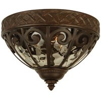 "Craftmade - Olivier Lighting - 14"" Flush Mount Exterior Light in Aged Bronze with Champagne Hammered Glass"