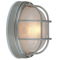 "Craftmade - Exterior Bulkhead Lighting - 8"" Diameter Flush Mount Exterior Light in Stainless Steel with Frosted Halophane Glass"