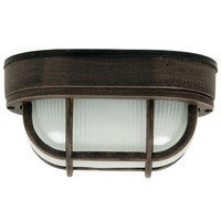 "Craftmade - Exterior Bulkhead Lighting - 6 1/2"" Flush Mount Exterior Light in Rust with Frosted Halophane Glass"